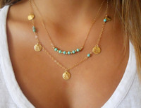 Wholesale Turquoise Bead Strand Necklace - 2015 New Vintage Boho Gold Silver Multi Layer Turquoise Beads Round Paillette Charms Pendant Necklace mp