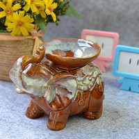Wholesale Vintage Lamp Stand - Vintage Ceramic Elephant Fragrance Oil Burner Aromatherapy Lamp Candle Stand Furnace Oil Container European Home Fragrance Lamp Decor DC837