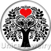 Wholesale Happy Sales - AD1301491 12 18 20mm Snap On Charms for Bracelet Necklace Hot Sale DIY Findings Glass Snap Buttons Happy Tree Love Heart Design noosa