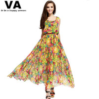 Wholesale Maxi Dress Shop - Wholesale-yellow floral print dress long maxi plus size XXXL XXL XL women's summer chiffon casual cheap clothing shop online P00076