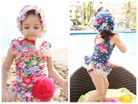 Wholesale tutus korea - 2015 korea style girls floral swimsuit girls swimsuits hats girl one pieces swimsuit girl swimming suit swimwear one piece tutu