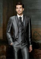 Wholesale Charcoal Suit Silver Tie - Hot Sale 2015 Two Buttons Charcoal Gray Silver Groom Tuxedos Notch Lapel Groomsmen Best Man Mens Wedding Suits (Jacket+Pant+Vest+Tie)