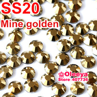 Wholesale Gold Hotfix Rhinestones - Wholesale-SS20 4.6-4.8mm,1440pcs Bag Aurum Hematite Gold DMC HotFix FlatBack loose Rhinestones,machine cut iron-on crystals stones Y0192