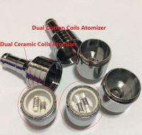 Wholesale E Cigarette Dual Core Atomizer - 100pcs D-CORE double coils wax atomizer Ceramic Cotton rob wax vaporizer dual heating coils wax cartomizer e cigarette electronic Cigarette