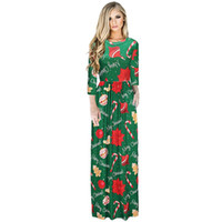 Wholesale empire tunic size xl - 2017 Winter Women Dresses Christmas Sexy Dresses With Floral Print Boho Party Xmas Vestidos Long Dress Plus Size Pocket Tunic Woman Clothing