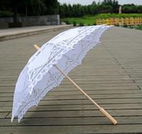 Wholesale long handled lace parasols - New Lace Umbrella Cotton Embroidery 10 colors Wooden handle Lace Parasol Umbrella Bridal Wedding Umbrella Decorations