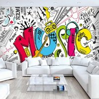 Quarto costume 3D Abstract Infantil Musical Graffiti Grande Mural Café Restaurante Bar Quarto Ruas Wallpaper Rocha auto-adesiva