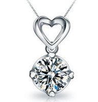 Wholesale Simulated Diamond Pendants - 100% 925 sterling silver Luxury quality 3 Ct SONA Simulated Diamond Halo Pendant Necklaces! Statement Necklace,Necklace 2015,choker,