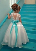 Wholesale kids cute lace short gown resale online - Cute Lace Short Sleeve Flower Girls Dresses Jewel Neck A Line Blue Sashes Kids Pageant Gown First Communion Dresses Cheap Custom Made