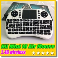 2.4G Touch Fly Air Mouse bateria carregável Cabo USB Preto e branco Portable 2.4G Rii Mini i8 teclado sem fio com mouse Touchpad PC