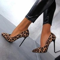 Sexy Leopard Horse Hair Pumps Mujer punta estrecha piel de visón decoración Slip on Metal Stiletto High Heels Bombas zapatos de vestir para damas