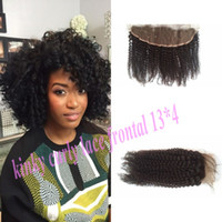 "Wholesale Dyable Hair - Cheap Lace Frontal Closure 13*4 inch with baby hair Kinky Curly Top Grade Brazilian Virgin Human Hair Natural Color Dyable 8""-22"" G-EASY"