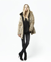 Wholesale Leopard Fur Plus Size - Manteau bomber Winter Jacket High Street Vintage Women Outerwear Thicken Leopard Print Zipper Long Faux Fur Coats Plus Size Overcoat Z642