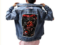 Джинсовая куртка Metallica Jacket Fashion Bieber Print Hole Coats hip Hop Swag Tyga Justin Bieber Короткие джинсовые куртки
