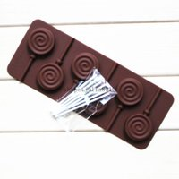 Wholesale Chocolate Lollipop Molds Wholesale - Lollipop mold silicone mould 6 lattices in circles DIY chocolate molds ice cube mold comes with a plastic rod CDSM-070
