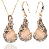 Círculo de cristal austríaco Opal Peacock Jewelry Sets Necklace Drop Earrings Set for Women Gift Jóias de ouro