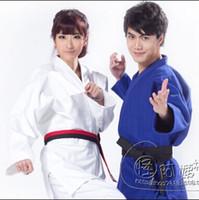 Wholesale Training Suits For Women - Wholesale-Blue and White kimono Jiu Jitsu gi Judo uniform Standard jiu jitsu judo suit training suit for adults men or women