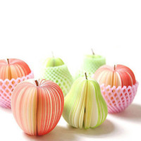 Wholesale Memo Pad Fruit Note - 2015 Fashion Apple Pear Shaped notes DIY fruit note pad Notebooks Memo Pad Lovely Notebook Stationery Paper Notebook christmas 201508LY