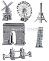 Wholesale Triumph Models - Metal Miniature Scale Model Eiffel Sculptures Triumph Arch Leaning London Tower Bridge 3d Puzzle World's Great Architecture
