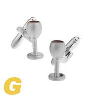 Wholesale Silver Wedding Goblets - High Quality New Classic Silver Copper Mens Wedding Cufflinks Novelty Rare Fancy Goblet & Clean 170121