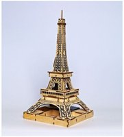 Wholesale Eiffer Tower - World famous buildings Solar energy Wooden Jigsaw 3D Puzzle Eiffer Tower DIY Xmas Gift Toys for childrens day Learning Education