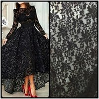 Wholesale Maternity Wedding Guest Dresses - Black Front Short Back Long Sleeve Prom Dresses 2016 New Arrival Elegant Sexy Lace Appliques Wedding Guest Formal Dresses
