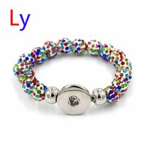 Wholesale Resin Rhinestone Paves Ball Beads - New Arrival Shamballa Pave Ball Colorful Crystal Disco Ball Metal Noosa Buttons Snap Bracelet Shamballa Snap Bracelet Gift DIY AC212