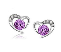 Wholesale Simple Rings For Girls - 925 Sterling Silver Earrings Fashion Jewelry Sweet Heart-Shaped with Crystal Simple Stud Ear Rings Purple & White Color for Women Girls
