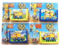 Wholesale Cheap Wallets For Kids - Despicable Me reloj Minion Watch with Box Children Watch and Wallet for Girl Boy Wholesale Cheap Kids Cartoon Watches Purse Set