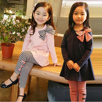 Wholesale Girls Dresses Years Old - 2 piece pink and blue color baby girl dress outfit pants+Shirt baby Clothe Set 2-7 years old