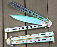 Wholesale wholesale butterfly - High quality 993 titanium color flail Butterfly knives Free-swinging Knife camping knife copies 10 pcs dropshipping freeshipping