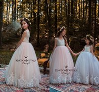 Wholesale Father Christmas Cover - Princess Lovely Jewel Neck Lace Beading Flower Girl Dresses 2018 Pink Tulle Lace Appliques Button Covered Kids Formal Wear Cheap