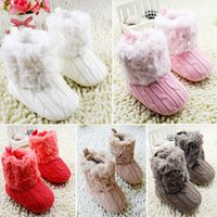 Wholesale girl shoes boots pink online - Baby Shoes Infants Crochet Knit Fleece Boots Wool Snow Crib Shoes Toddler Boy Girl Winter Booties Freeshipping