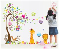 fondo de pantalla de árbol búho al por mayor-Kids room Nursery PVC Wall Art Sticker Owl Lion Jirafa Flor Árbol Tatuajes de Pared Decoración Home Wallpaper Decoración Pegatinas