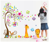 papel de parede da árvore da coruja venda por atacado-Quarto de crianças berçário pvc arte da parede adesivo coruja leão girafa flor árvore decalque da parede decoração de casa papel de parede decoração adesivos
