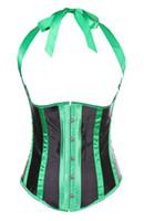 Wholesale Underbust Bodyshaper - Green Stripe Satin Waistcoat Style Underbust Corset Basques Bodyshaper Bustier Corset