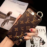 Wholesale Texture Phone - Cassic Luxury brand printing leather texture Wriststrap phone case for the iPhone 7 7 plus 8 8 X hard back cover for iPhone 6 6S 6plus