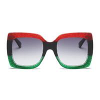 6fcaeb97e76f3a GESCHICHTE Sonnenbrillen Designer Übergroßen Tricolor Rahmen Grün Rot  Sonnenbrille Für Frauen Große Sonnenbrille Sexy Damen