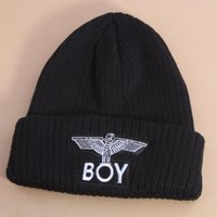 Al por mayor-2015 de lana de invierno Sombrero Boy London Eagles de punto Negro bordado Moda Cap sombrero caliente Para Gorros Boy Girls '