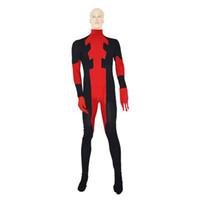 ingrosso costumi super elastici-Costumi Cosplay più economici Red Halloween Cosplay Super Hero Deadpool Tute Taglie diverse Tessuto elastico Lycar Design classico DC004