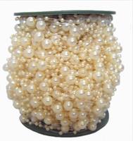 venda de la flor rojo blanco azul al por mayor-Envío libre de marfil 60 m / rollo perla perlas guirnalda de la boda pieza central flor / decoración de la mesa diy
