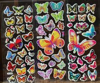 Wholesale Deco Kids - Mini Butterfly stickers adhesive 3D PVC kids toys puffy stickers butterfly deco wall cell phone stickers