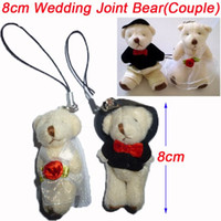 Wholesale Wholesale For Bride Stuff - Wholesale 50pair Lot H=8cm Plush Wedding Bear Groom Bride Pendant Stuffed For Key Car Phone Bag Christmas Gifts