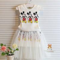 Wholesale Wholesale Clothing Dress Shirts - Summer girls cute suit Mickey mouse vest t shirt +gauze dress 2 pcs suit mickey mouse Kids clothing C001