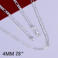 Wholesale High Quality Gold Filled Jewelry - 16' to 30' 2016 4MM 925 Sterling Silver plated fashion snake chain necklaces for men jewelry High quality LKN049