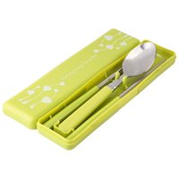 Wholesale Cutlery Wholesale Wooden Handles - 2016 Hot selling Good Guality Portable Wooden Handle stainless steel Chopsticks Spoon Kitchen Tableware Tool Set cutlery travel