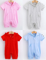 Wholesale Toddler Shortalls Rompers - Hooded Baby Girls Rompers Shortalls Polo Toddler Hoodies Romper 100% Cotton Outfits Retail