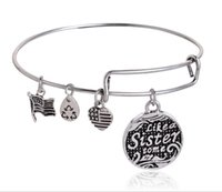 Wholesale Alex Ani Bracelet Silver - Silver plated simple wiring Alex and Ani Initial alphabet flower Bangle luckly bracelets for women free shipping EH111