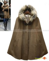 Wholesale Camel Poncho Coat - Wholesale-Shanghaimagicbox Women Fashion Batwing Fur Collar Cape Poncho Cloak Coat Black Camel WCOT028