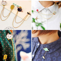 Wholesale New Indian Cute Girls - Punk New Women Girl Accessories Fashion Cute Egg Cat Moon Rabbit Chain Brooch Badge Pin Collar brooch Jewelry Gift Free [GE07047-52]